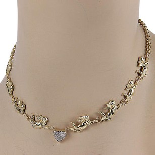 Other Estate 14k Yellow Gold Cupid Link Diamond Heart Toggle Necklace
