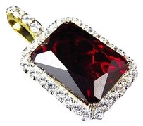 .925 Sterling Silver Men Women Ruby Lab Diamond Yellow Gold Finish Charm Pendant