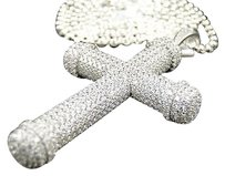 Sterling Silver .925 Lab Simulated Diamond 3d Cross Pendant Chain