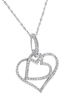 Other Double Heart Womens Pendant Real Diamonds Micro Pave 10k White Gold Charm Womens