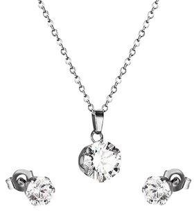 Round Cut Cz Cubic Zirconia Stud Earrings Pendant Necklace Stainless Steel Women