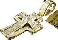 10k,Mens,Ladies,Mini,Diamond,Cross,Charm,Pendant,.45,Ct