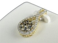 10k,Yellow,Gold,Ladies,Brown,Diamond,Pear,Flower,Pendant,Charm,0.39,Ct