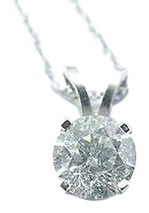 Fine Round Cut Diamond Solitaire Pendant Necklace .50ct H-si1 16
