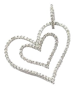 18kt,Double,Heart,Diamond,White,Gold,Pendant,.60ct