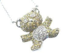 Other 18kt,Multi,Color,Diamond,Bear,Pendant,Necklace,1.10ct,