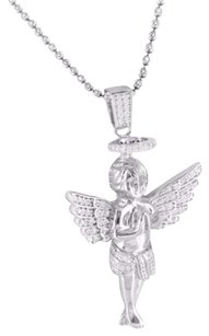 Other Simulated Diamond S.925 Baby Angel Charm Pendant Moon Cut Chain 14k Finish