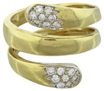 1960s Vintage Estate 18k Solid Yellow Gold 0.5ctw Diamond Double Head Snake Ring