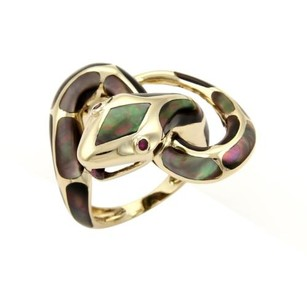 Estate Mother Of Pearl Ruby Snake Ring In 14k Yellow Gold -size