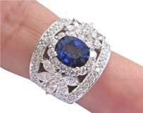 Other 18kt Gem Blue Ceylon Sapphire Multi Shape Diamond White Gold Ring 4.26ct