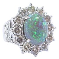 Fine Black Opal Diamond White Gold Jewelry Ring 14kt 5.60ct