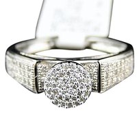 Womens,Diamond,Engagement,Bridal,Round,Cut,Pave,Ring