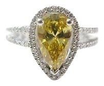 Fine,Vivid,Orange-yellow,Pear,Shape,Solitaire,With,Accents,Diamond,Ring,2.32ct