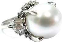 Platinum,South,See,Pearl,Diamond,Anniversary,Jewelry,Ring,13.6mm,.94ct