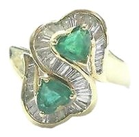 Other 18kt,Heart,Shape,Gem,Green,Emerald,Diamond,Yellow,Gold,Jewelry,Ring,1.62ct
