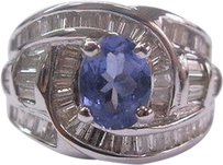 18kt,Gem,Tanzanite,Baguette,Diamond,Anniversary,Ring,Wg,2.84ct