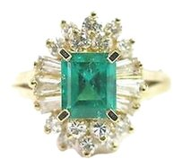 Fine,Gem,Green,Emerald,Diamond,Anniversary,Jewelry,Ring,Yg,1.69ct