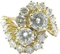 Fine Round Cut Diamond Circular Bypass Yellow Gold Jewelry Ring 2.06ct