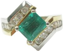 18kt,Gem,Green,Colombian,Emerald,Diamond,Anniversary,Ring,Wg,Yg,2.10ct