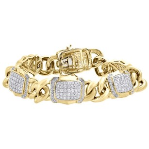 Other 10k Yellow Gold Miami Cuban Link Diamond Bracelet 8.5 Pave Domed Style 4.81 Ct.