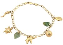 Other Vintage 14k Yellow Gold Jadeite Assorated Seven Charms Bracelet