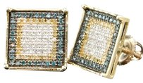 Blue Yellow Diamond Earrings 10k Yellow Gold Round Pave Studs 34 Tcw.