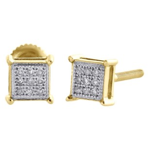 10k Yellow Gold Genuine Diamond Square Studs Prong 5mm Pave Earrings 120 Ct.
