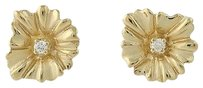 Diamond Flower Earrings - 14k Yellow Gold Round Brilliant Cut Pierced .03ctw