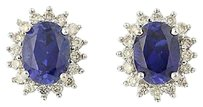 Other Syn. Sapphire Diamond Halo Earrings - 10k Yellow White Gold Pierced 3.60ctw