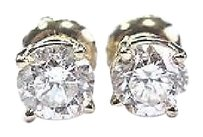 Other Fine Round Cut Diamond Stud Earrings Yellow Gold 14kt 1.00ct G-si1 Screw Back