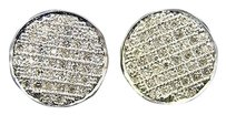 Mensladies,Round,Pave,Diamond,Stud,Earring,10mm,1.5,Ct