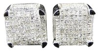 2.5,Ct,Mens,Ladies,Xl,Ice,Cube,3d,White,Gold,Princess,Diamond,Stud,Earrings,12mm