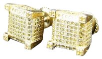 Ice,Cube,Block,Canary,Mens,Diamond,Stud,Earrings,9mm