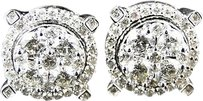 10k,Menladies,White,Gold,Round,Cut,Solitaire,Look,Diamond,Stud,Earrings,2.2,Ct