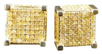 Mens,And,Ladies,Yellow,Gold,With,Yellow,Canary,Diamond,Cube,Stud,Earrings,1.25,C