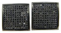 Black,On,Black,Pave,14,Mm,Diamond,Stud,Earrings,1.25,Ct