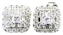 Other 14k,Mens,Ladies,White,Gold,Princess,Diamond,Square,Studs,Earrings,8mm,12,Ct