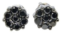 10k,White,Gold,Mens,Or,Ladies,Black,Diamond,Cluster,Diamond,Stud,Earrings,1,Ct