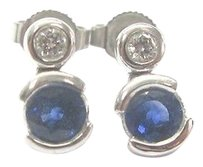 18kt,Gem,Blue,Sapphire,Diamond,Earrings,Solid,White,Gold,.98ct