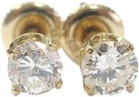 Fine Round Cut Diamond Stud Earrings Yg .85ct Ii1
