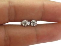 Platinum,3-prong,Round,Cut,Diamond,Stud,Earrings,1.02ct,G-vs1