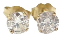 Other Fine Round Cut Diamond Stud Earrings Yg .86ct