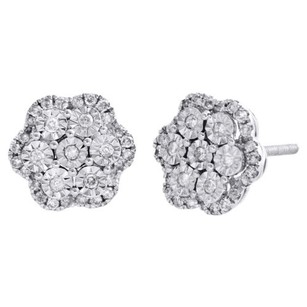Other 14k White Gold Diamond Flower Shape Studs Miracle Set 9.50mm Earring 0.49 Ct.