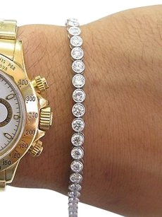 Other 18kt Round Diamond Bezel Set White Gold Tennis Bracelet 42-stones 7.18ct 7.5
