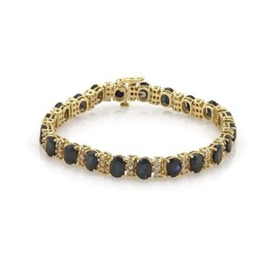 Other 22.20ct Sapphire Diamond 14k Yellow Gold Tennis Bracelet