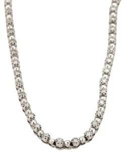 2.43ct Diamond 18k White Gold Fancy Bead Tennis Necklace