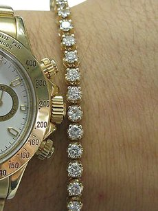 Fine Round Cut Diamond 4-prong Tennis Bracelet Yellow Gold 4.26ct