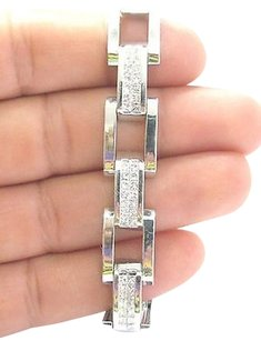 Other 18kt,Mens,Princess,Cut,Diamond,Invisible,White,Gold,Bracelet,6.72ct