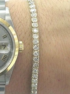 Other Fine,Round,Diamond,Bezel,Set,Yellow,Gold,Tennis,Bracelet,14kt,3.00ct