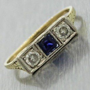 1920s Antique Art Deco Estate 14k Yellow Gold 0.2ctw Diamond Sapphire Ring